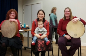 Sandi, Oxana and Sarah with our youngest drummer
